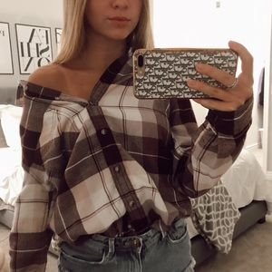 Maroon and White Flannel